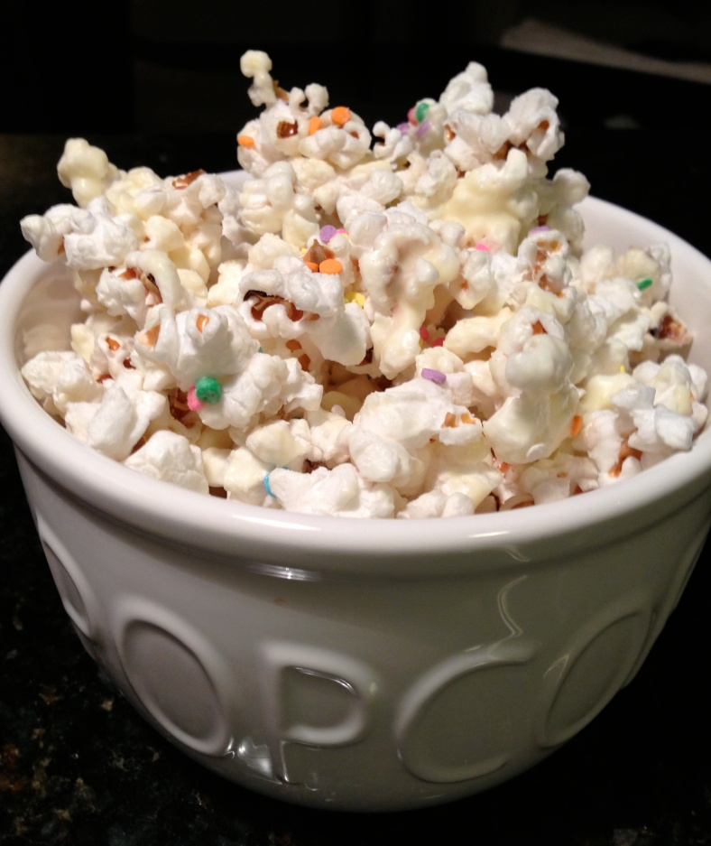 White Chocolate Popcorn In A Bowl